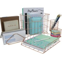 Wire Metal 5 in 1 Desk Organizer Set - Letter Sorter, Pencil Holder, Stick Note Holder, Hanging File Organizer and Letter Tray, Copper