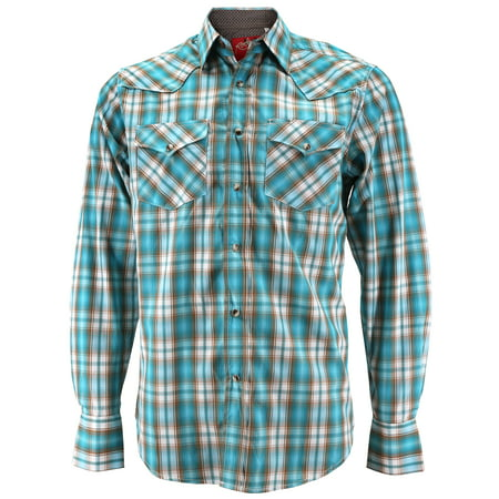 Plaid Pearl Snap (Rodeo Clothing Men's Premium Western Cowboy Pearl Snap Long Sleeve Plaid Shirt (PS400L #446, XL) )