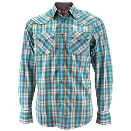 Rodeo Clothing Men's Premium Western Cowboy Pearl Snap Long Sleeve Plaid Shirt (PS400L #446, - Cowboys Store Western Apparel