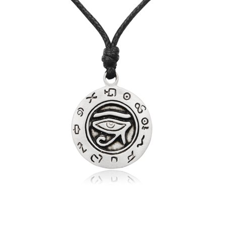 Egyptian Eye Horus - Egyptian Eye of Ra Horus Silver Pewter Charm Necklace Pendant Jewelry With Cotton Cord