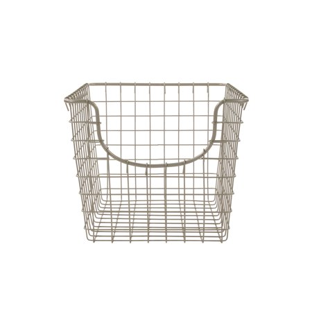 Spectrum Diversified Scoop Wire Storage Basket, Vintage-Inspired Steel Storage Solution for Kitchen, Pantry, Closet, Bathroom, Craft Room & Garage, Small, Satin Nickel Steel Wire Basket