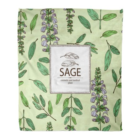 SIDONKU Flannel Throw Blanket Green Oil Sage Branch of Leaves and Flowers Cosmetic Soft for Bed Sofa and Couch 50x60 Inches