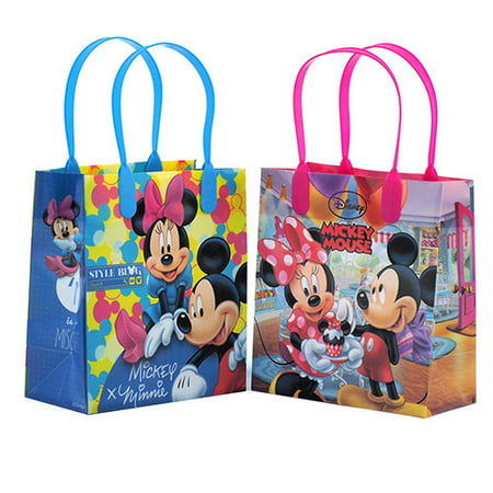 Mickey and Minnie Mouse Character 12 Authentic Licensed Party Favor Reusable Goodie Small Gift Bags (Mickey And Minnie Mouse Party Supplies)