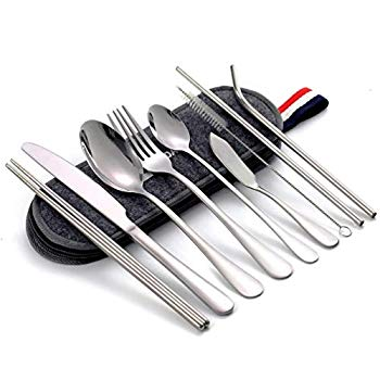 DZRZVD Portable Utensils Travel Camping Cutlery Sets Stainless Steel Ultralight Hiking Equipment