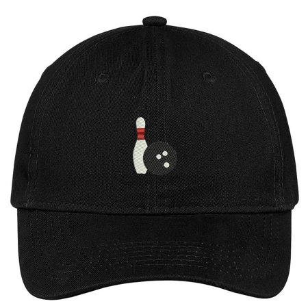 Cotton Ball Cap - Trendy Apparel Shop Bowling Ball and Pin Embroidered Soft Low Profile Cotton Cap Dad Hat