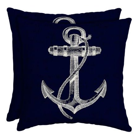 Mainstays Regatta Anchor 16 x 16 in. Outdoor Patio Toss Pillow, Set of 2 (2 Toss Pillows)