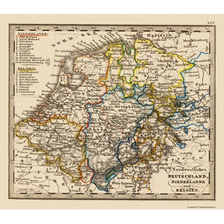 Map Of The Netherlands And Germany.Old Europe Map Northwest Germany Netherlands Benelux 1852 23 X 26