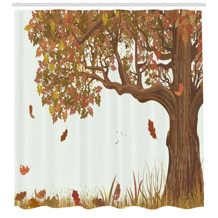 (Tree of Life Shower Curtain, Autumn Season Fall Shady Deciduous Oak Leaves in Park Countryside Artwork, Fabric Bathroom Set with Hooks, Umber Redwood, by Ambesonne)