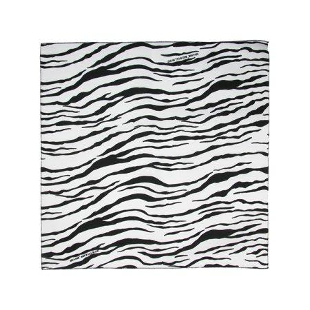 CTM®  Womens Cotton Zebra Print Bandanas, White (White Cotton Bandanas)