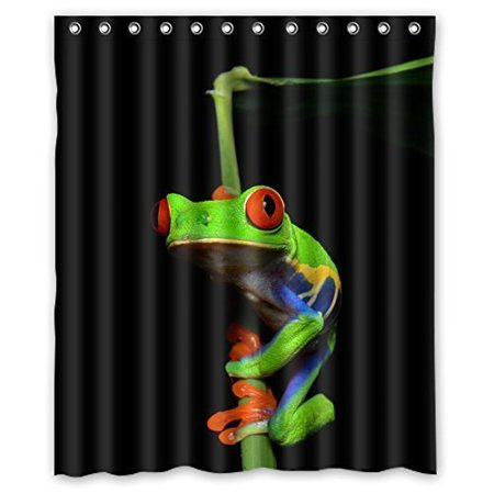 HelloDecor Frog Shower Curtain Polyester Fabric Bathroom Decorative Size 66x72 Inches