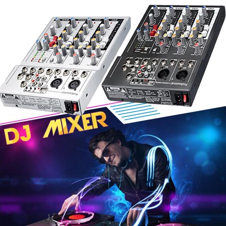 Complete Professional Karaoke - Mini 4 Channel Karaoke Audio Mixer Amplifier Professional Microphone Mixing Sound Console with 48V Power