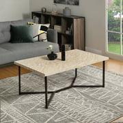 Wood Coffee Table, Modern Rustic Metal Frame Coffee Tables for Living Room, Coffee Table and End Tables, Tea Table Suit for Living Room, Home Office, Y Base Black Metal Frame, Natural Marble, R1171
