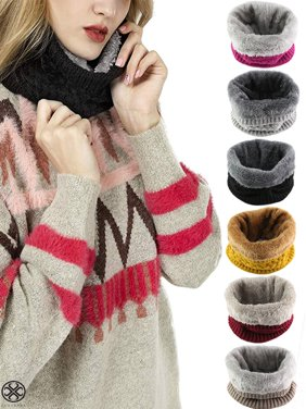 Luxtrada Harsh Winter Double-Layer Soft Fleece Lined Thick Knit Neck Warmer Circle Scarf Windproof for Women Men (Yellow)