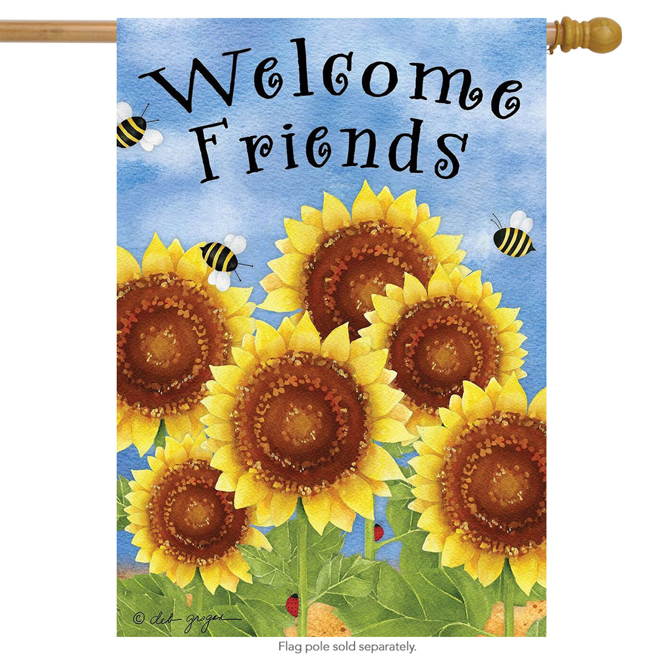 """welcome friends sunflowers summer house flag bees floral 28"""" x 40"""""""