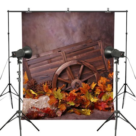 HelloDecor Polyster 7x5ft Autumn Fallen Maple Leaf Photography Backdrops Wooden Wheelbarrow Portrait Harvest Season Thanks Giving Photo Backgrounds Studio Props