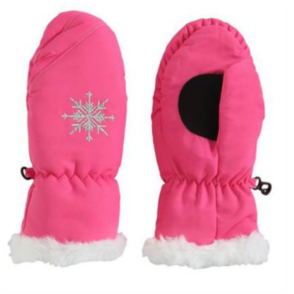 Aquarius Girls Pink Faux Fur Trim Snow & Ski Mittens Fleece & Thinsulate Lining