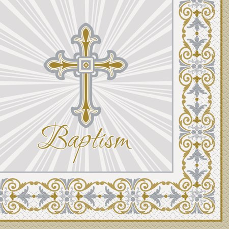 Radiant Cross Baptism Paper Luncheon Napkins, 6.5 in, Gold & Silver, 16ct