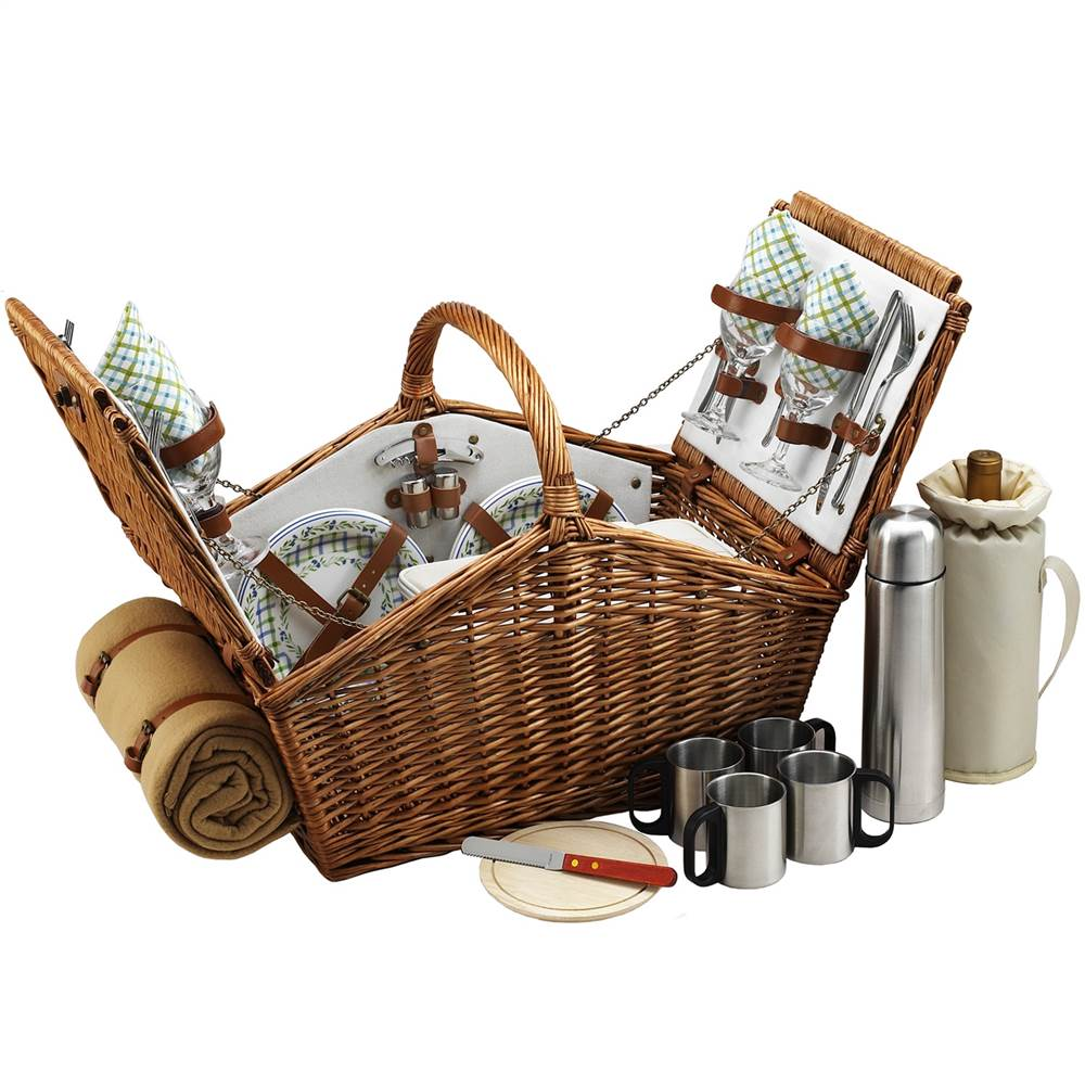 Gazebo Picnic Basket for Four with Coffee Set and Blanket