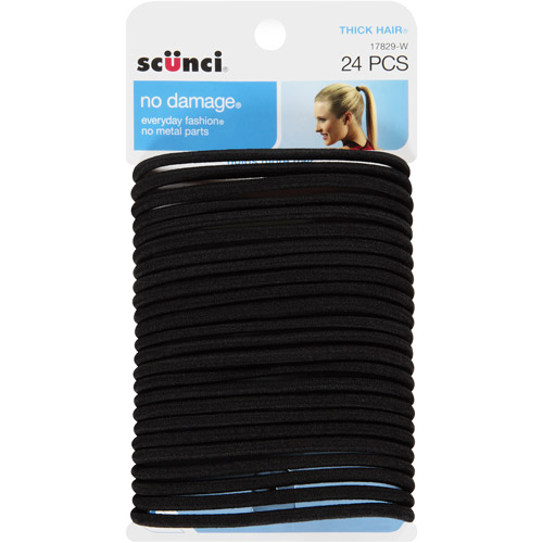 Scunci No Damage Hair Ties Black - 24 CT