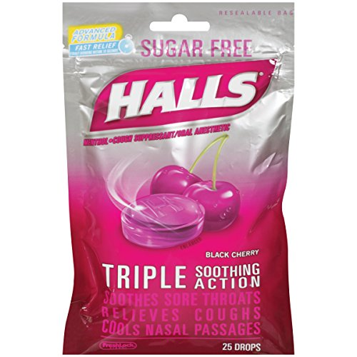 4 Pack Halls Sugar Free Triple Soothing Action Black Cherry 25 Drops Each