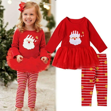 2pcs Toddler Kids Baby Girls Outfit T-shirt Top+Leggings Pants Clothes XMAS Set