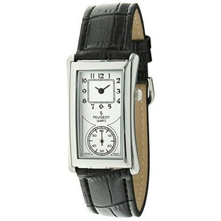 Vintage Unisex Silver Contoured Dial Black Leather Band Doctors Nurse Watch 2038S