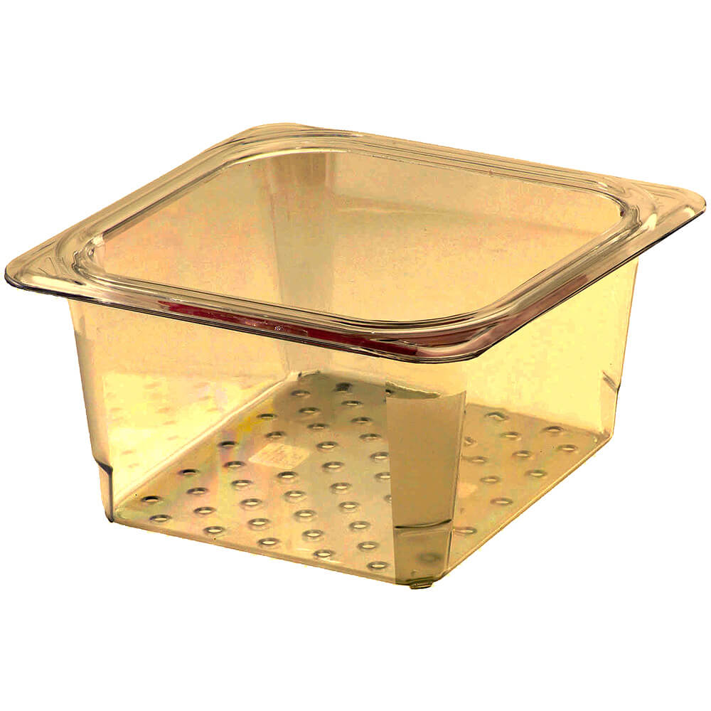 """Cambro High Heat Perforated Pan / Colander, 1/6 GN, 3"""" Deep, 6PK, Amber, 63CLRHP-150"""