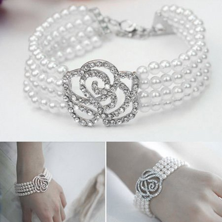 Holiday Deal! Christmas Gift! Today# Fashionable Elegant Popular Women's Elegant 4 Layer Crystal Rose Flower simulated pearl Bangle Strand Bracelet Accessories Stylish