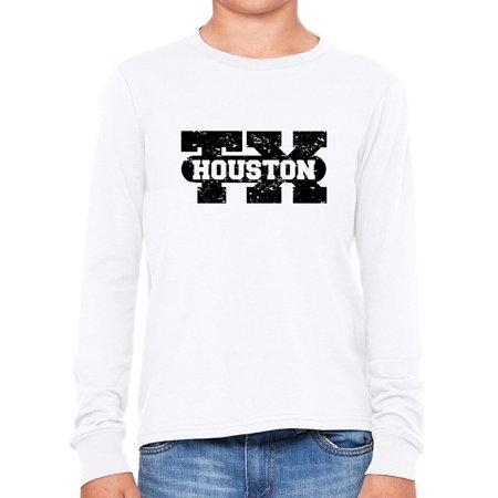 Houston, Texas TX Classic City State Sign Girl's Long Sleeve T-Shirt (Hot Girls In Houston Tx)