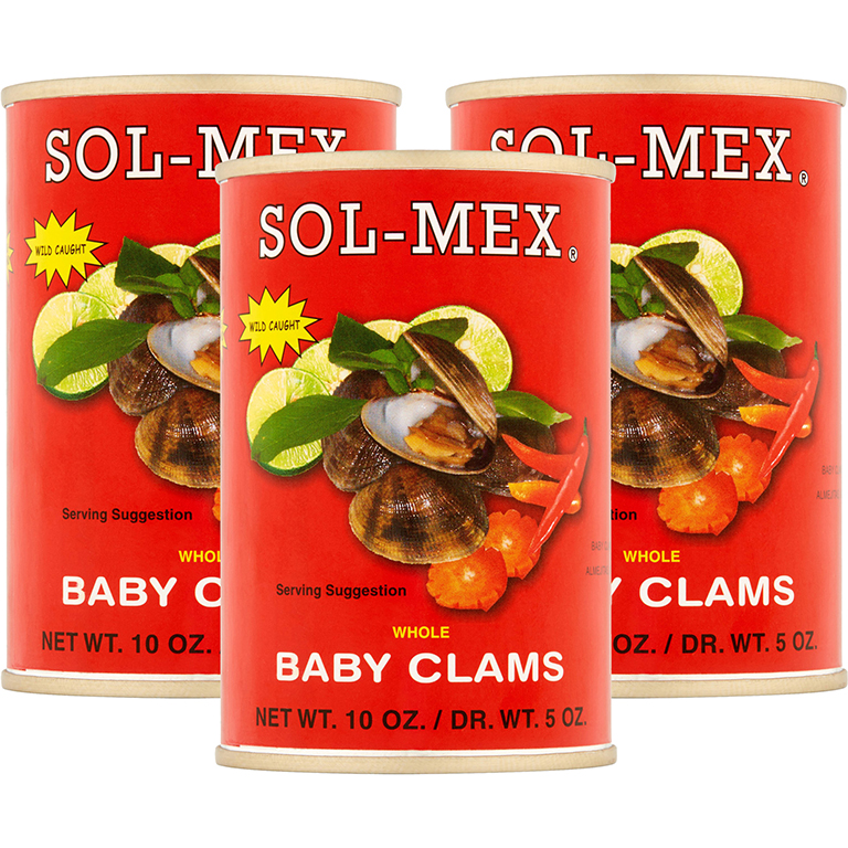 Sol-Mex Whole Baby Clams, 10 oz Can (4 Packs)