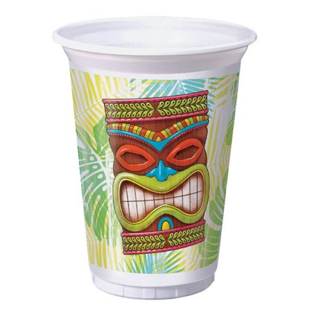 Tiki Tie - Tiki Time 8 Ct 16 oz Plastic Tumbler Cups Summer Pool Party Luau