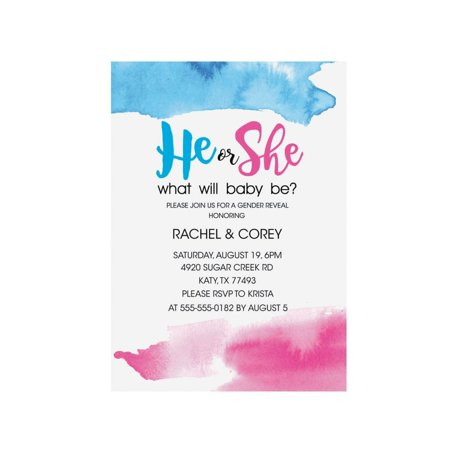 Personalized He Or She Gender Reveal Invitations