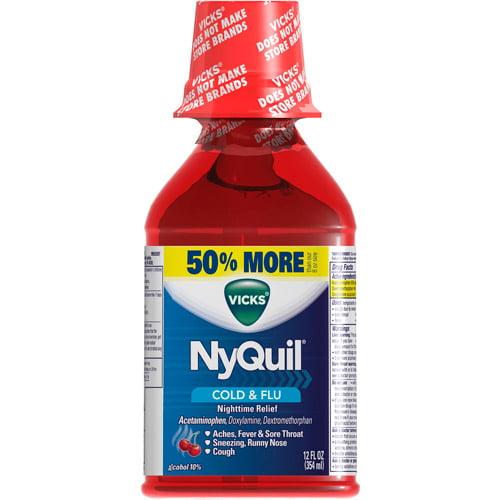 Vicks NyQuil Cold & Flu Cherry Liquid, 12 oz