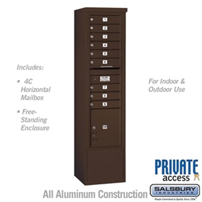 Salsbury 3916S-09ZFP 72 in. Maximum Height Unit Single Column 9 MB1 Doors & 1 PL4.5 Front Loading Free Standing 4C Horizontal Mailbox Unit, Bronze - Private Access