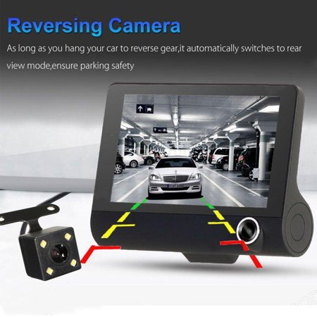 Three Lens Dash Camera for Cars, 4'' Dash Cam FHD 1080P Car Vehicle Dashboard DVR Camera Video Recorder Black - image 6 of 8