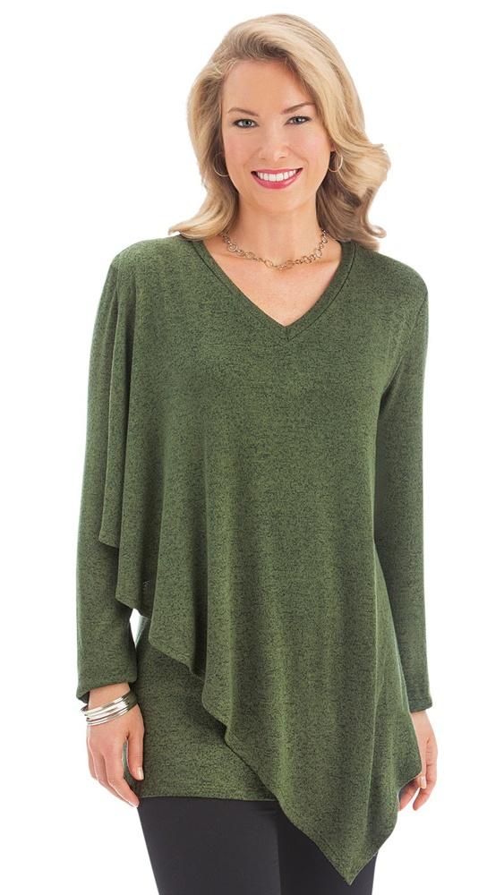 7bee6b5cfa07 Collections Etc. - Women's Asymmetrical Drape Long Sleeve Jersey Knit Top -  Made in the USA - Walmart.com