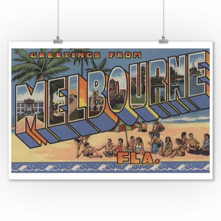 Melbourne, Florida - Large Letter Scenes (9x12 Art Print, Wall Decor Travel (Kids Boutique Melbourne)