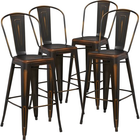 Flash Furniture 4pk 30'' High Distressed Copper Metal Indoor Barstool with Back (hightop bar table and stools)