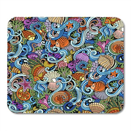 SIDONKU Cartoon Doodles on The Subject of Under Water Life Theme Mousepad Mouse Pad Mouse Mat 9x10 inch