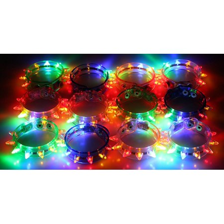 12 Pack of Mixed Spike Flashing LED Spiky Light Up Bracelets for Parties, Events, Functions, Celebrations