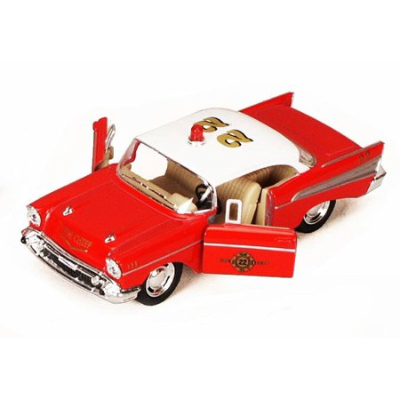 - 1957 Chevy Bel Air Fire Chief, Red - Kinsmart 5323D - 1/40 scale Diecast Model Toy Car (Brand New, but NOT IN BOX)