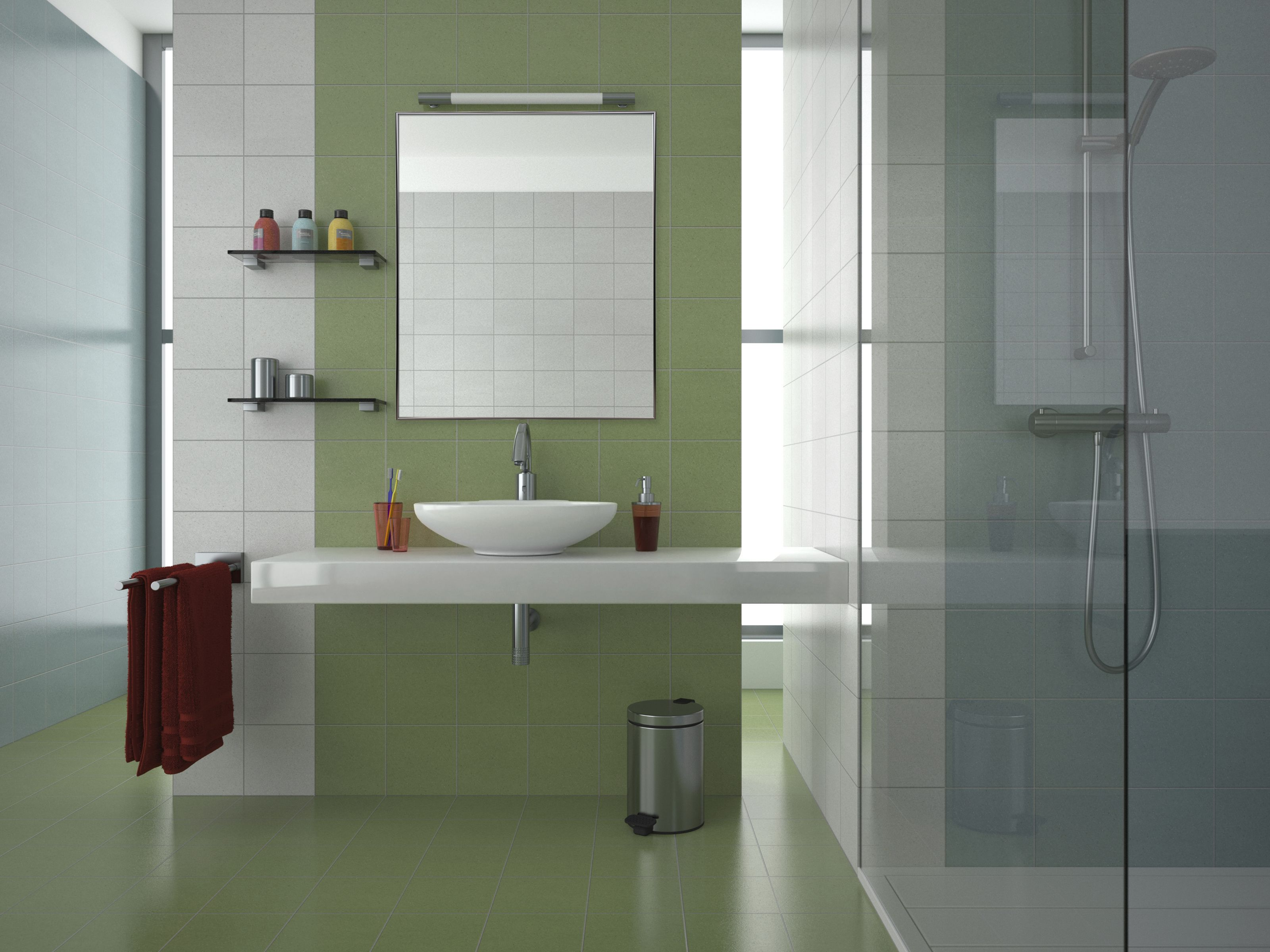 "Click here to buy 24""x30"" Nickel Aluminum Vanity Mirror, with 3 8 Wide Moulding by Pinnacle."