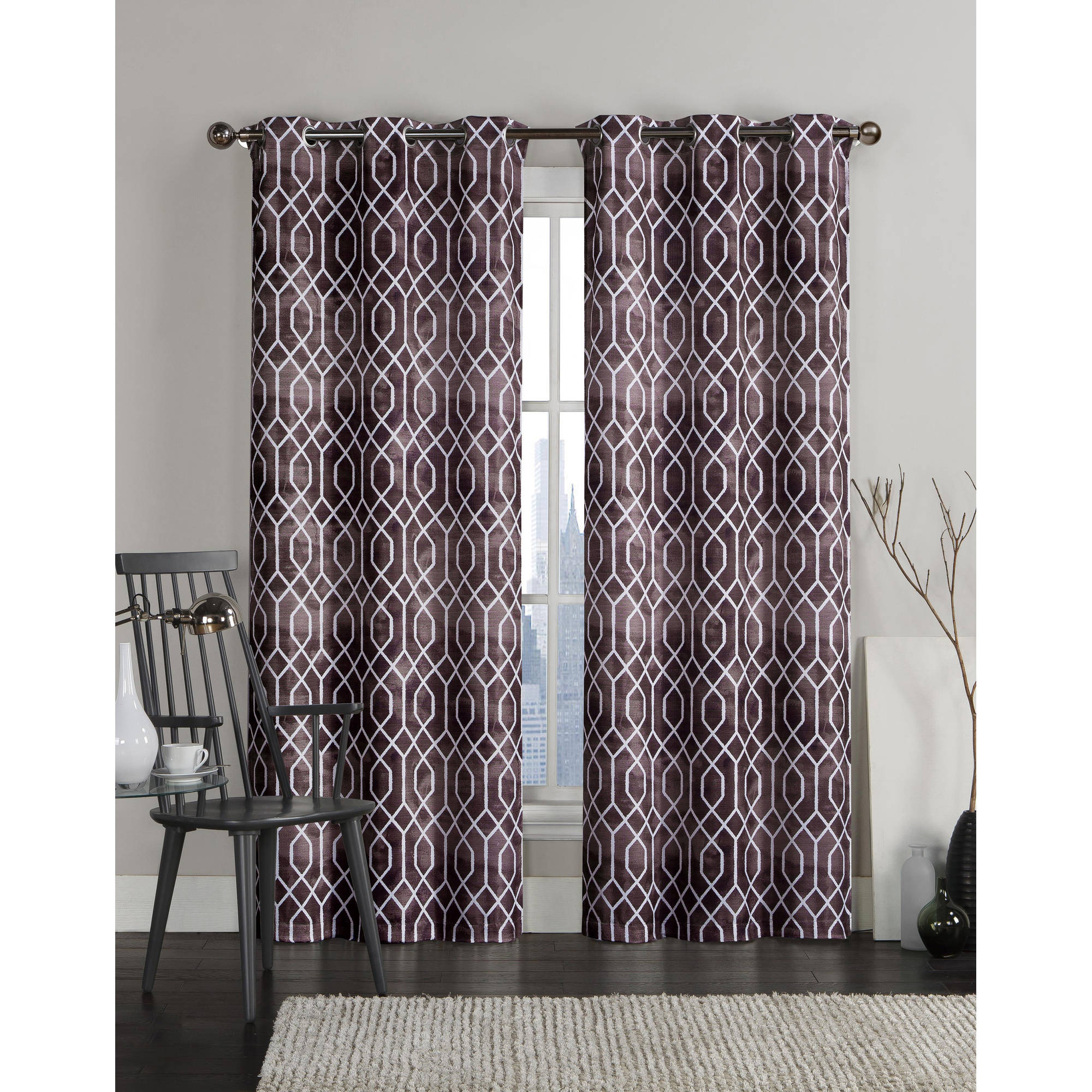 VCNY Home Andreas Geometric Printed Grommet Top Window Curtains, Set of 2, Multiple Sizes Available