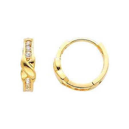 Huggie Childrens Earrings - 14K Real Yellow Gold Small Round Cubic Zirconia Huggies Earrings for Baby and Children