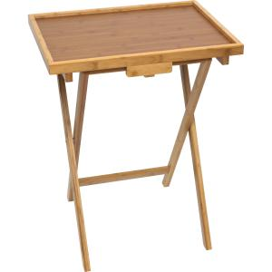 Lipper International Bamboo Lipped Snack Tables, Set of 2