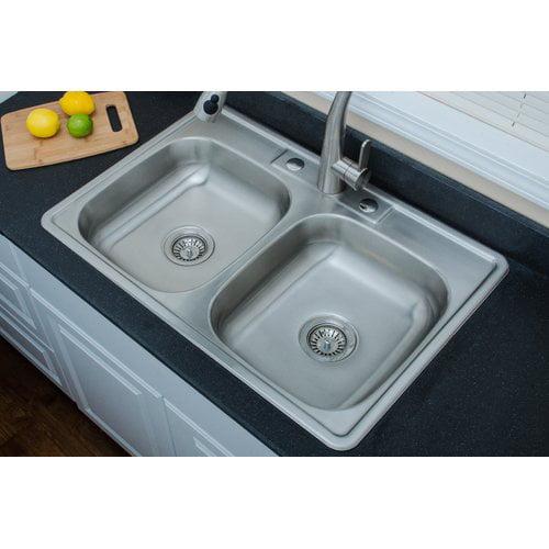 WELLS SINKWARE Speciality Series 33\'\' L x 22\'\' W ADA Topmount Double  Kitchen Sink - Walmart.com