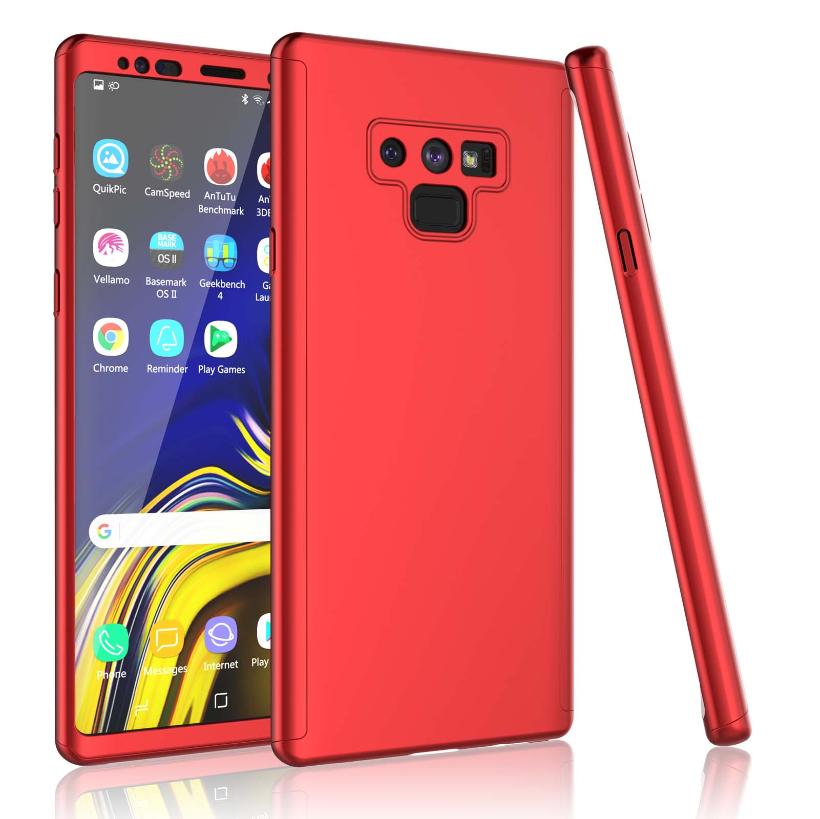 Samsung Galaxy S10 / S10 Plus / S9 / S9+ / Note 9 Case, Tekcoo [Red] Ultra Thin Full Body Coverage Protection Scratch Proof Hard Slim Hybrid Cover Shell Tempered Glass Screen Protector Skin