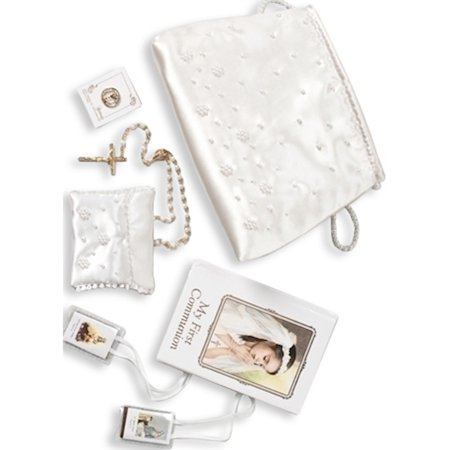 First Communion Girl Six Piece White Purse Set Designer Jewelry by Sweet Pea