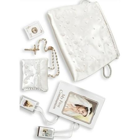 First Communion Girl Six Piece White Purse Set Designer Jewelry by Sweet Pea (Communion Purse Set)