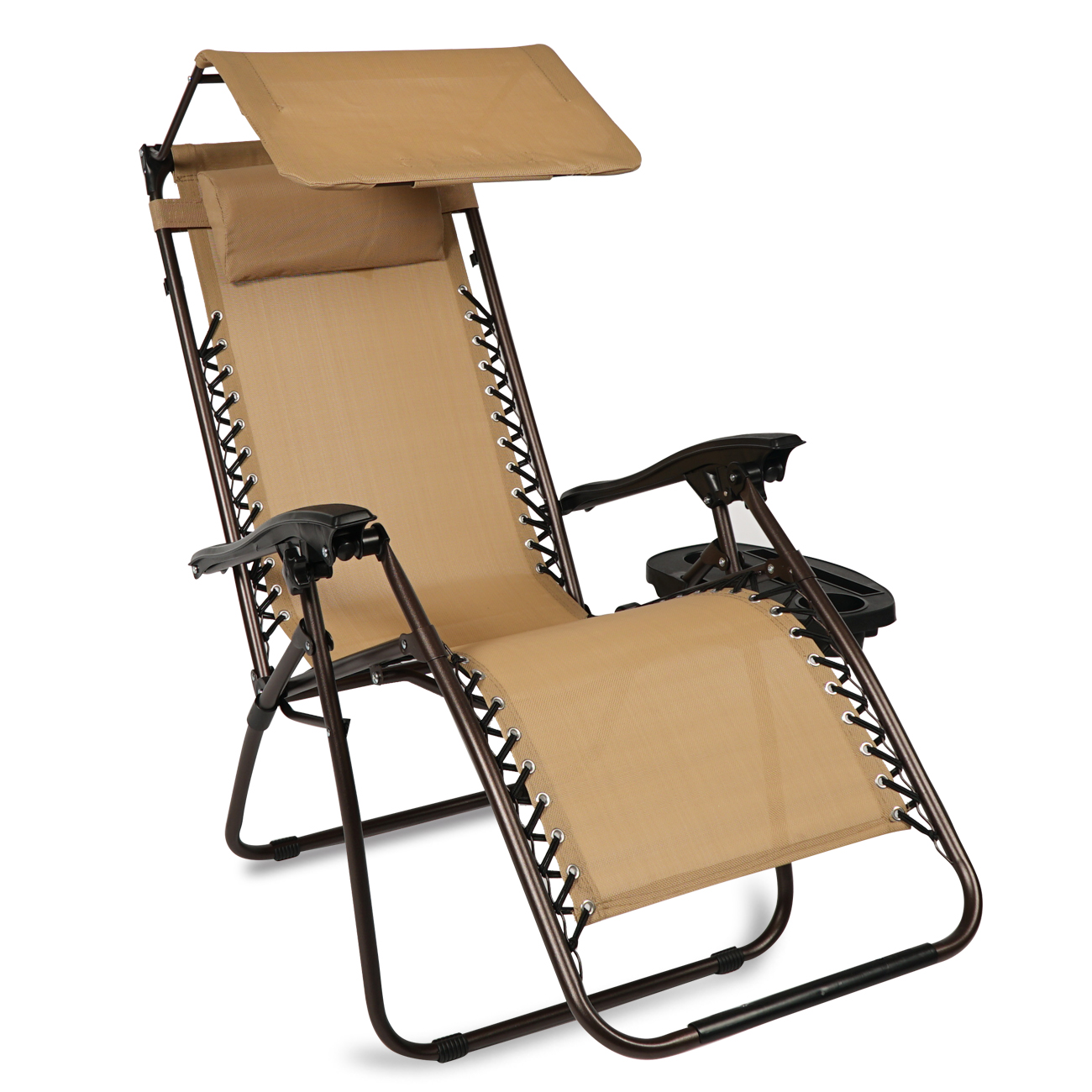 BELLEZE Zero Gravity Lounge Chair with Pillow Patio Seat with Canopy Folding Adjustable Reclining Cup Holder, Beige